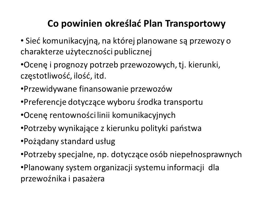 Co powinien określać Plan Transportowy Sieć komunikacyjną, na której planowane są przewozy o charakterze użyteczności publicznej Ocenę i prognozy potr