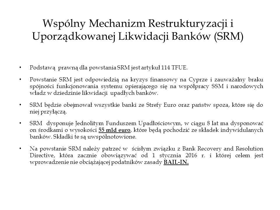 Wspólny Mechanizm Restrukturyzacji i Uporządkowanej Likwidacji Banków (SRM) Podstawą prawną dla powstania SRM jest artykuł 114 TFUE. Powstanie SRM jes