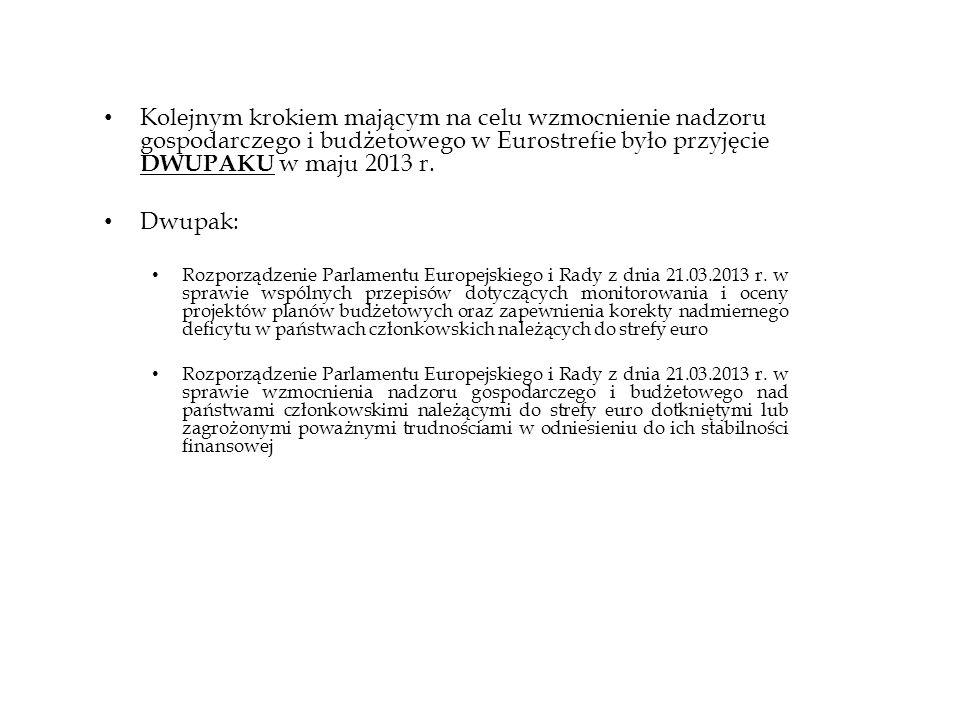 Kolejnym krokiem mającym na celu wzmocnienie nadzoru gospodarczego i budżetowego w Eurostrefie było przyjęcie DWUPAKU w maju 2013 r. Dwupak: Rozporząd