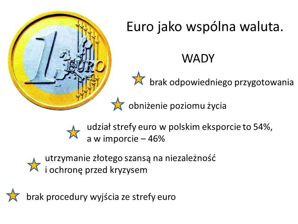 Euro jako wspólna waluta. WADY brak odpowiedniego przygotowania brak procedury wyjścia ze strefy euro obniżenie poziomu życia utrzymanie złotego szans