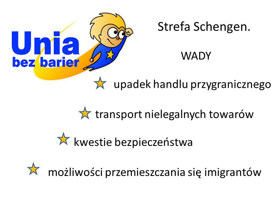 Strefa Schengen. WADY transport nielegalnych towarów kwestie bezpieczeństwa możliwości przemieszczania się imigrantów upadek handlu przygranicznego