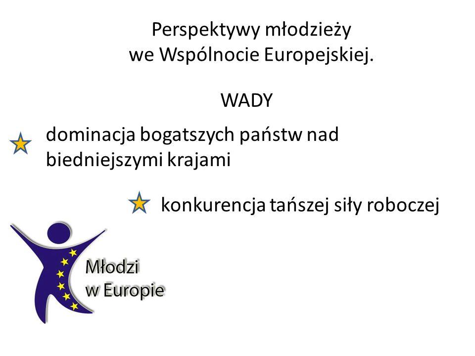 Perspektywy młodzieży we Wspólnocie Europejskiej. WADY dominacja bogatszych państw nad biedniejszymi krajami konkurencja tańszej siły roboczej