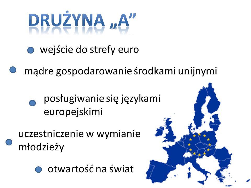 wejście do strefy euro mądre gospodarowanie środkami unijnymi posługiwanie się językami europejskimi uczestniczenie w wymianie młodzieży otwartość na