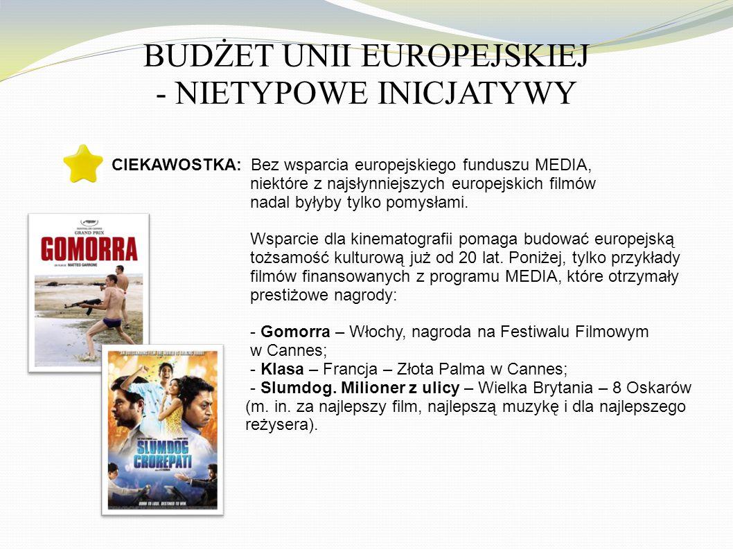 BUDŻET UNII EUROPEJSKIEJ - NIETYPOWE INICJATYWY CIEKAWOSTKA: Bez wsparcia europejskiego funduszu MEDIA, niektóre z najsłynniejszych europejskich filmów nadal byłyby tylko pomysłami.