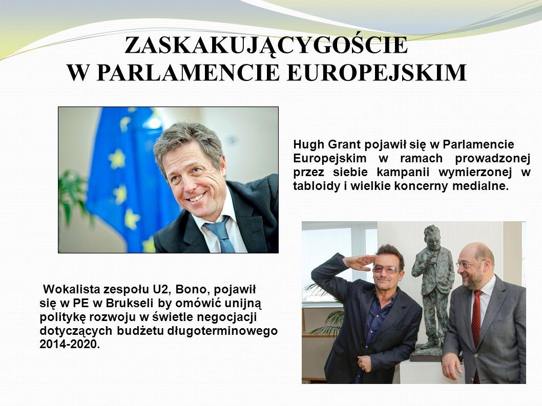 ZASKAKUJĄCYGOŚCIE W PARLAMENCIE EUROPEJSKIM Hugh Grant pojawił się w Parlamencie Europejskim w ramach prowadzonej przez siebie kampanii wymierzonej w tabloidy i wielkie koncerny medialne.