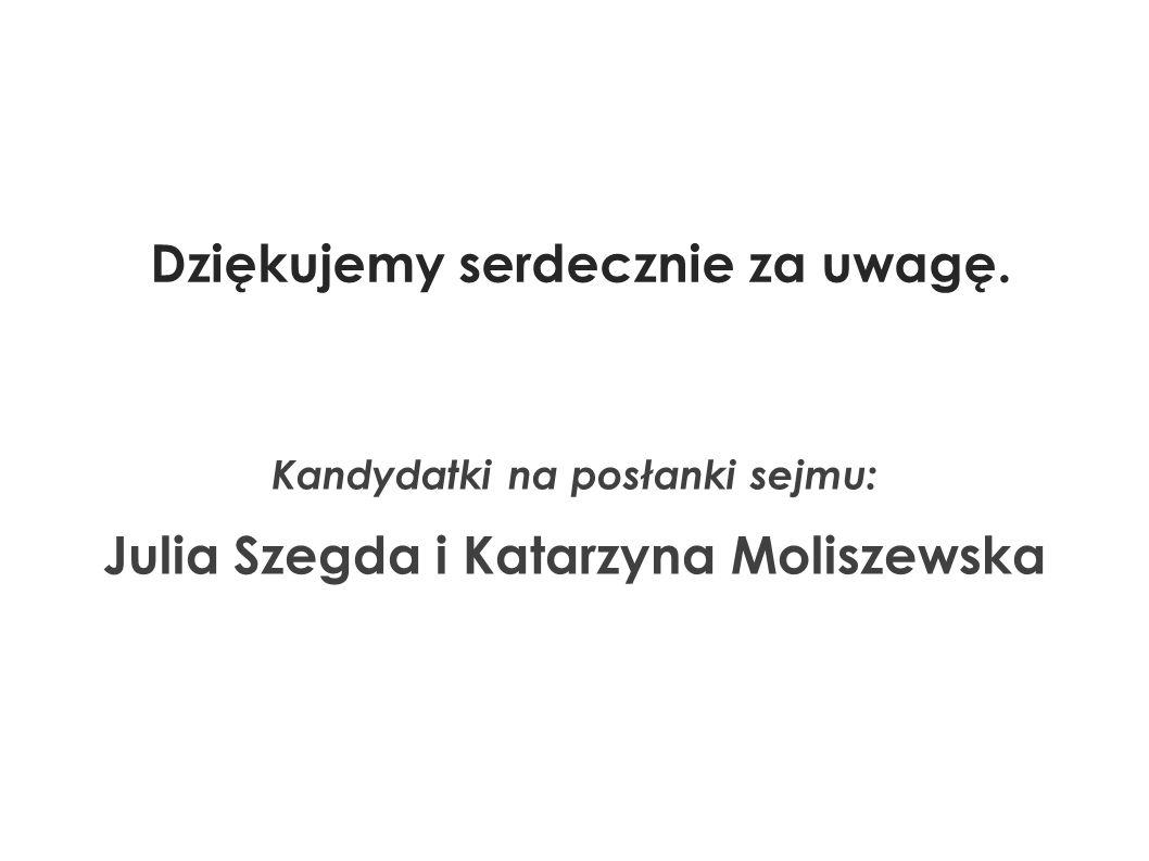 Kandydatki na posłanki sejmu: Julia Szegda i Katarzyna Moliszewska Dziękujemy serdecznie za uwagę.