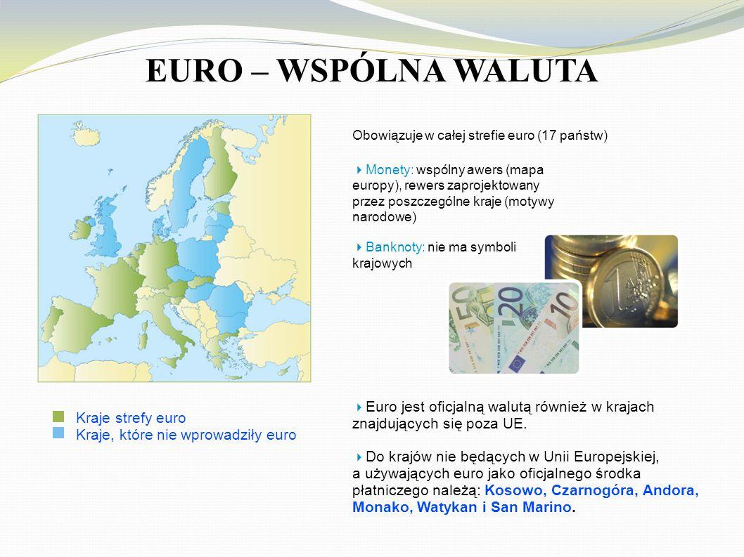 EURO – WSPÓLNA WALUTA Kraje strefy euro Kraje, które nie wprowadziły euro Obowiązuje w całej strefie euro (17 państw)  Monety: wspólny awers (mapa europy), rewers zaprojektowany przez poszczególne kraje (motywy narodowe)  Banknoty: nie ma symboli krajowych  Euro jest oficjalną walutą również w krajach znajdujących się poza UE.