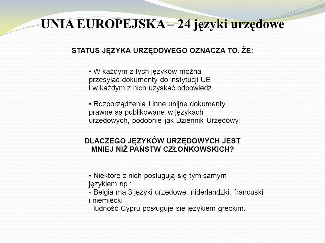 UNIA EUROPEJSKA – 24 języki urzędowe W każdym z tych języków można przesyłać dokumenty do instytucji UE i w każdym z nich uzyskać odpowiedź. Rozporząd