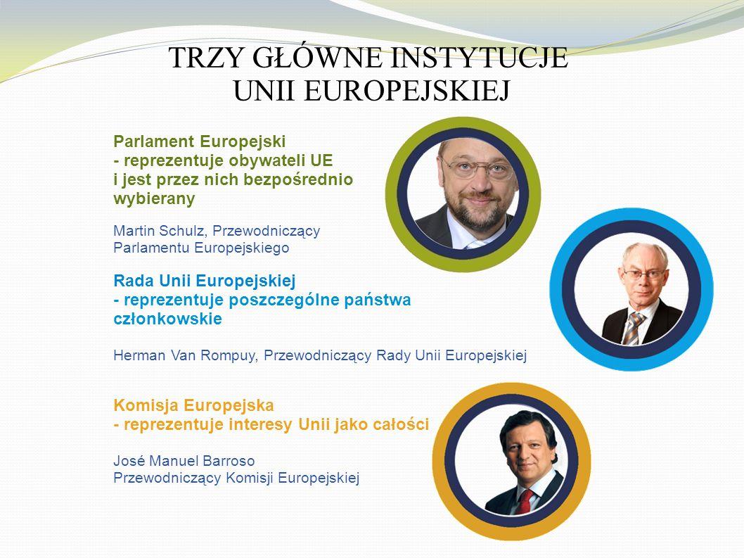 TRZY GŁÓWNE INSTYTUCJE UNII EUROPEJSKIEJ Parlament Europejski - reprezentuje obywateli UE i jest przez nich bezpośrednio wybierany Martin Schulz, Prze