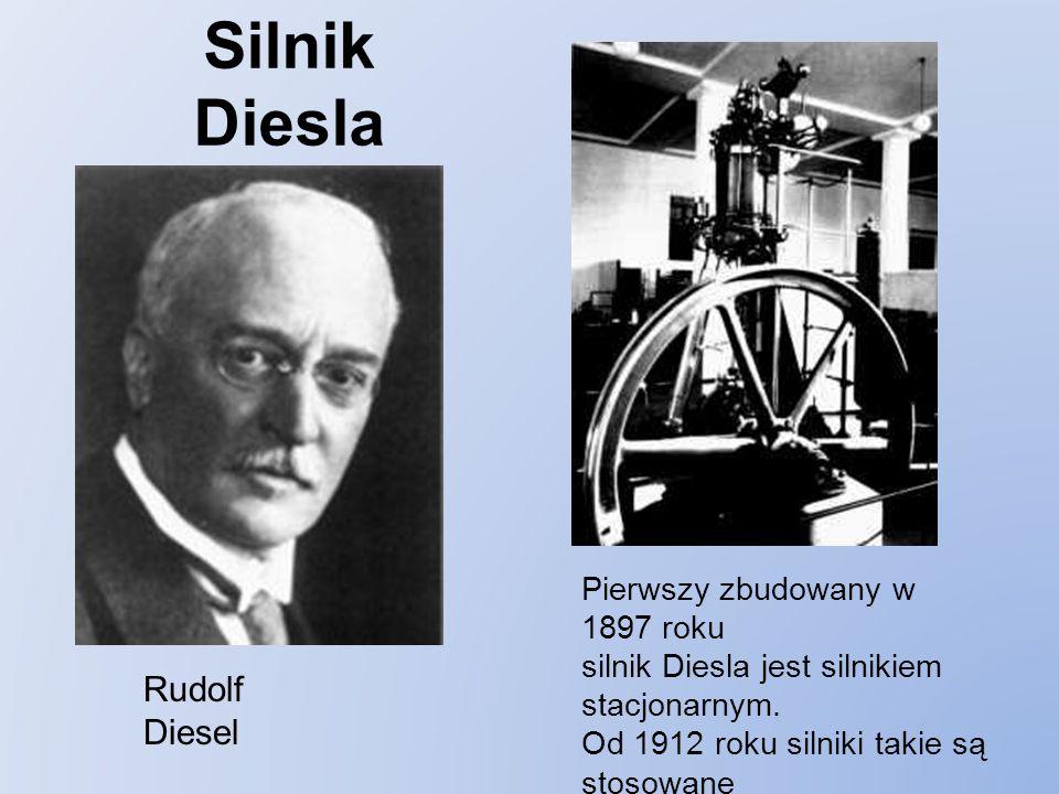 Silnik Diesla Rudolf Diesel Pierwszy zbudowany w 1897 roku silnik Diesla jest silnikiem stacjonarnym.