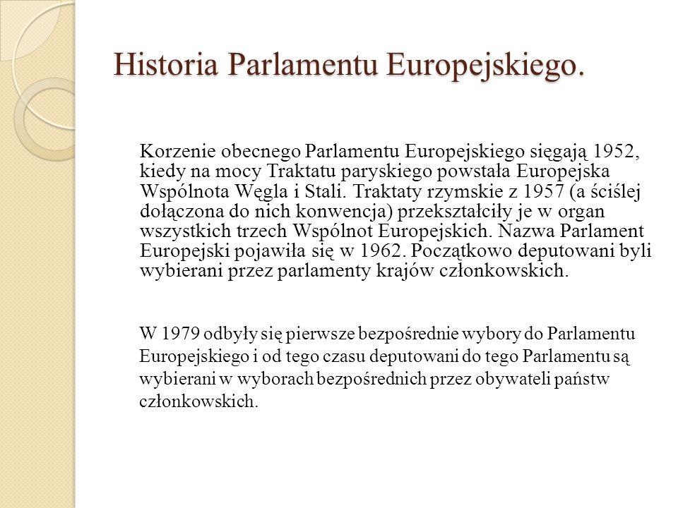 Historia Parlamentu Europejskiego. Korzenie obecnego Parlamentu Europejskiego sięgają 1952, kiedy na mocy Traktatu paryskiego powstała Europejska Wspó