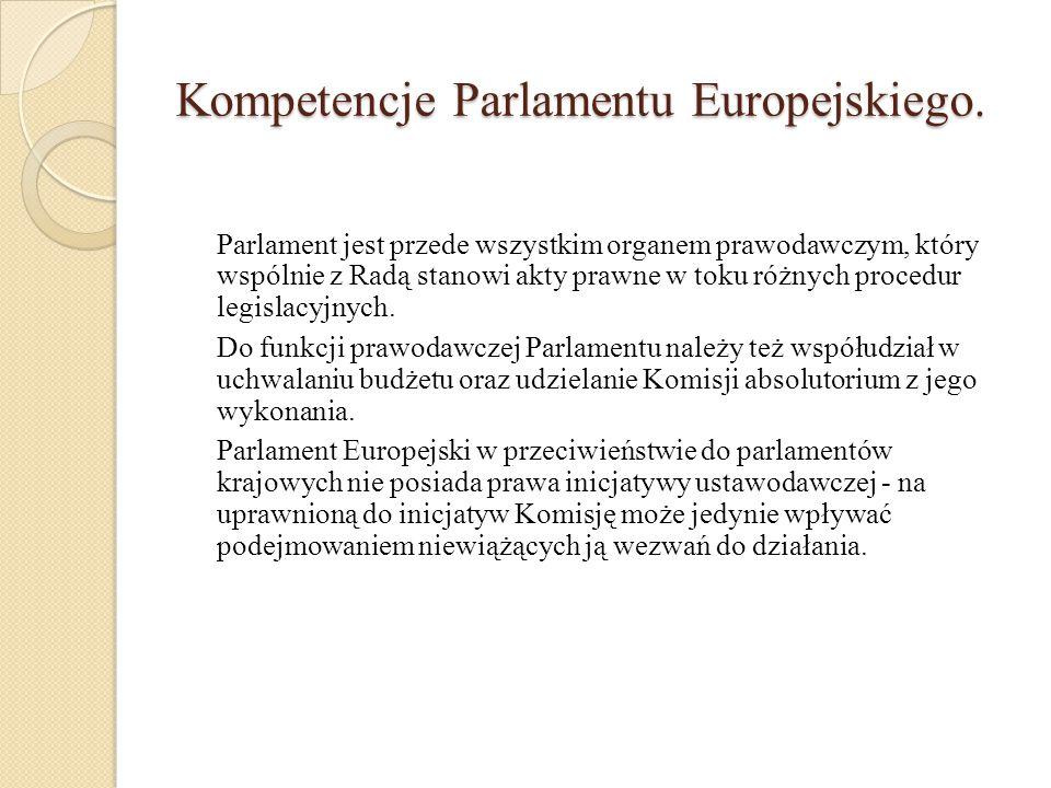 Prawa i obowiązki Parlamentu Europejskiego zatwierdza Komisję i jej przewodniczącego ma prawo uchwalenia wotum nieufności wobec Komisji (większością 2/3 głosów) ma prawo zadawania pytań komisarzom ma zwyczajową możliwość zadawania pytań Radzie Komisja jest zobowiązana do składania Parlamentowi Europejskiemu sprawozdań z działalności Unii Przewodniczący Rady Europejskiej składa Parlamentowi sprawozdania z posiedzeń Rady Europejskiej Parlament Europejski ma prawo do ustanawiania komisji śledczych na wniosek ¼ swoich członków powołuje Europejskiego Rzecznika Praw Obywatelskich