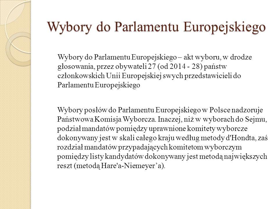 Wybory do Parlamentu Europejskiego Wybory do Parlamentu Europejskiego – akt wyboru, w drodze głosowania, przez obywateli 27 (od 2014 - 28) państw czło