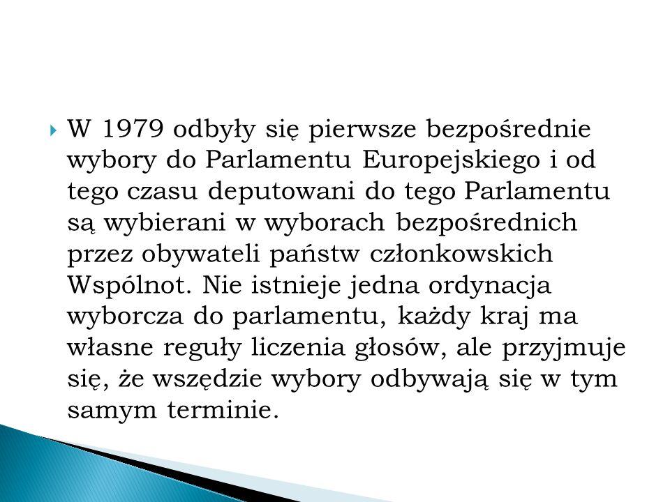  W 1979 odbyły się pierwsze bezpośrednie wybory do Parlamentu Europejskiego i od tego czasu deputowani do tego Parlamentu są wybierani w wyborach bez