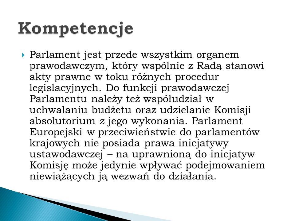  Parlament jest przede wszystkim organem prawodawczym, który wspólnie z Radą stanowi akty prawne w toku różnych procedur legislacyjnych. Do funkcji p