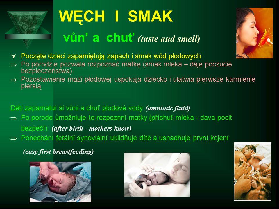 WĘCH I SMAK vůn' a chuť (taste and smell)  Poczęte dzieci zapamiętują zapach i smak wód płodowych  Po porodzie pozwala rozpoznać matkę (smak mleka –