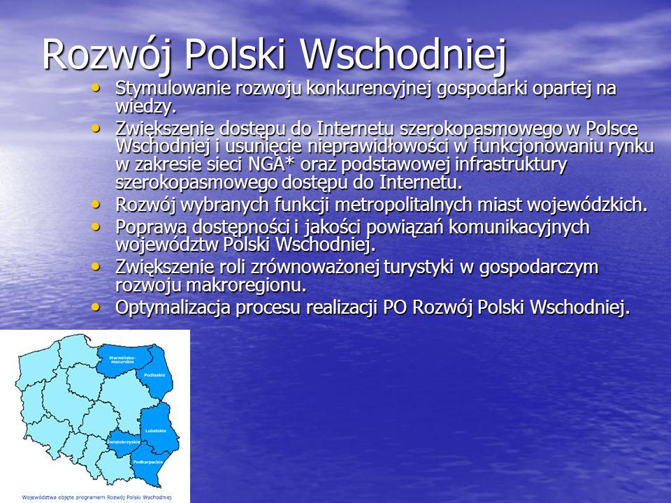 Rozwój Polski Wschodniej Stymulowanie rozwoju konkurencyjnej gospodarki opartej na wiedzy. Stymulowanie rozwoju konkurencyjnej gospodarki opartej na w