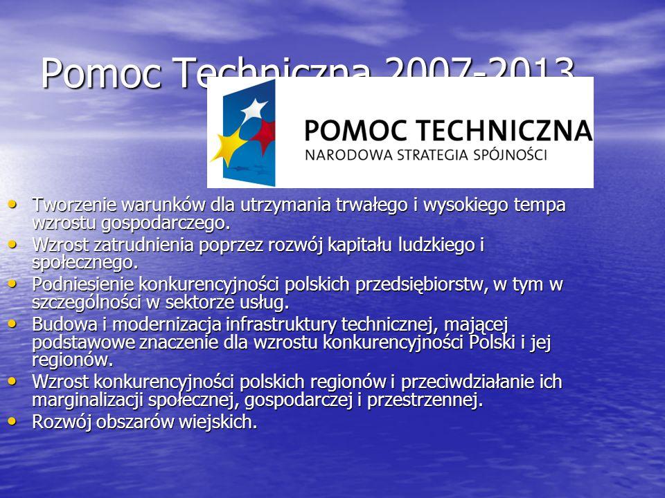 Pomoc Techniczna 2007-2013 Tworzenie warunków dla utrzymania trwałego i wysokiego tempa wzrostu gospodarczego. Tworzenie warunków dla utrzymania trwał