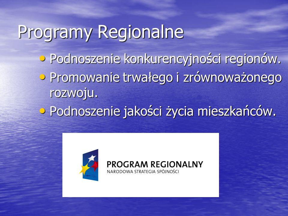 Programy Regionalne Podnoszenie konkurencyjności regionów. Podnoszenie konkurencyjności regionów. Promowanie trwałego i zrównoważonego rozwoju. Promow
