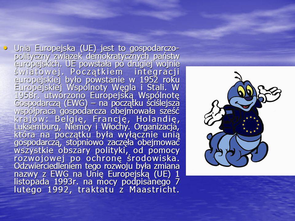 Państwa członkowskie Unii Europejskiej 1952r.: Belgia, Francja, Holandia, Luksemburg, Niemcy, Włochy 1952r.: Belgia, Francja, Holandia, Luksemburg, Niemcy, Włochy 1973r.: Dania, Irlandia, Wielka Brytania 1973r.: Dania, Irlandia, Wielka Brytania 1981r.: Grecja 1981r.: Grecja 1986r.: Hiszpania, Portugalia 1986r.: Hiszpania, Portugalia 1990r.:złączenie Niemiec (przyłączenie byłej NRD) 1990r.:złączenie Niemiec (przyłączenie byłej NRD) 1995r.: Austria, Finlandia, Szwecja 1995r.: Austria, Finlandia, Szwecja 2004r.: Polska, Cypr, Czechy, Estonia, Litwa, Łotwa,.