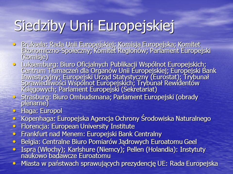 Siedziby Unii Europejskiej Bruksela: Rada Unii Europejskiej; Komisja Europejska; Komitet Ekonomiczno-Społeczny; Komitet Regionów; Parlament Europejski