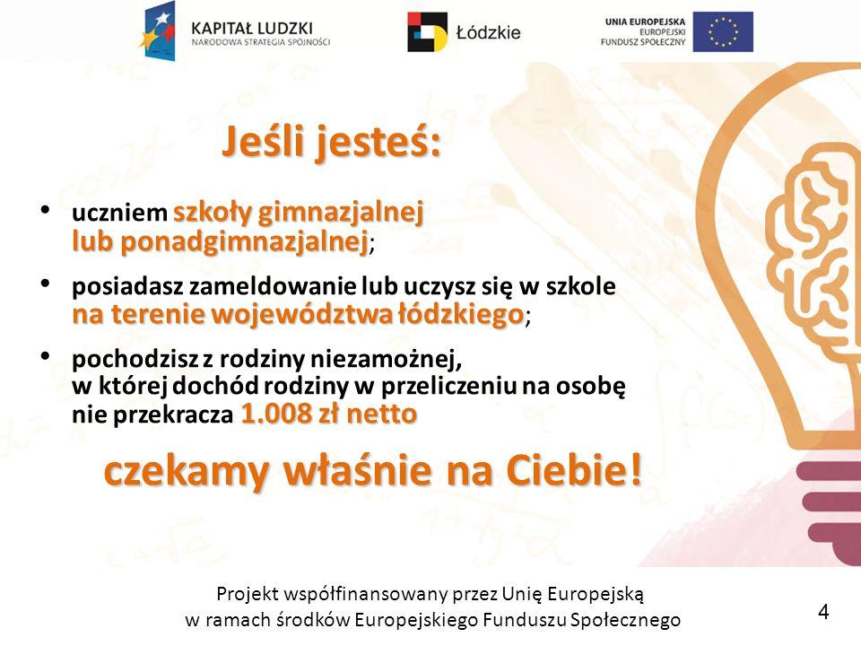 Projekt współfinansowany przez Unię Europejską w ramach środków Europejskiego Funduszu Społecznego Złóż wniosek.