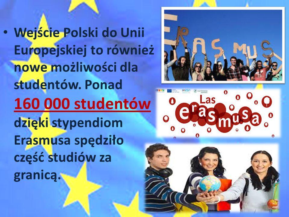 Wejście Polski do Unii Europejskiej to również nowe możliwości dla studentów. Ponad 160 000 studentów dzięki stypendiom Erasmusa spędziło część studió