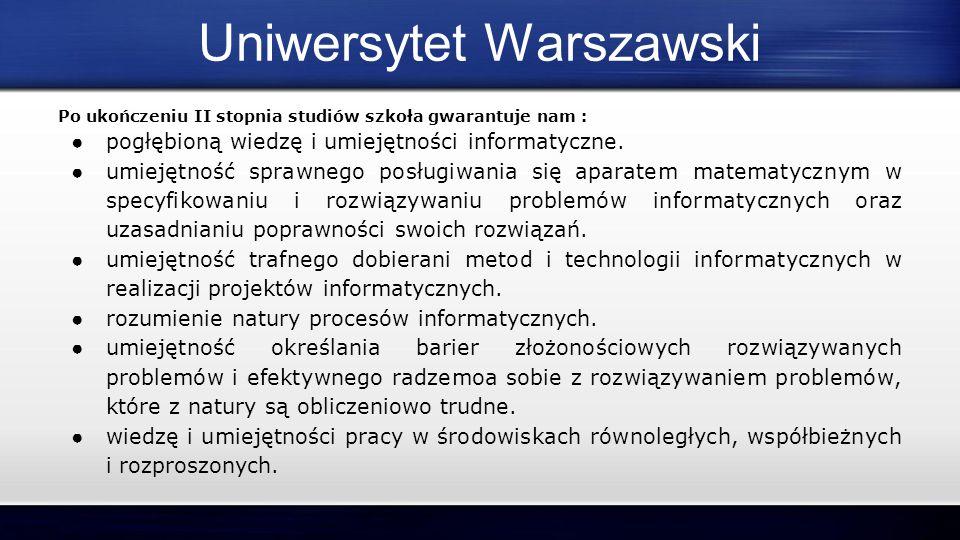 Po ukończeniu II stopnia studiów szkoła gwarantuje nam : ● pogłębioną wiedzę i umiejętności informatyczne. ● umiejętność sprawnego posługiwania się ap