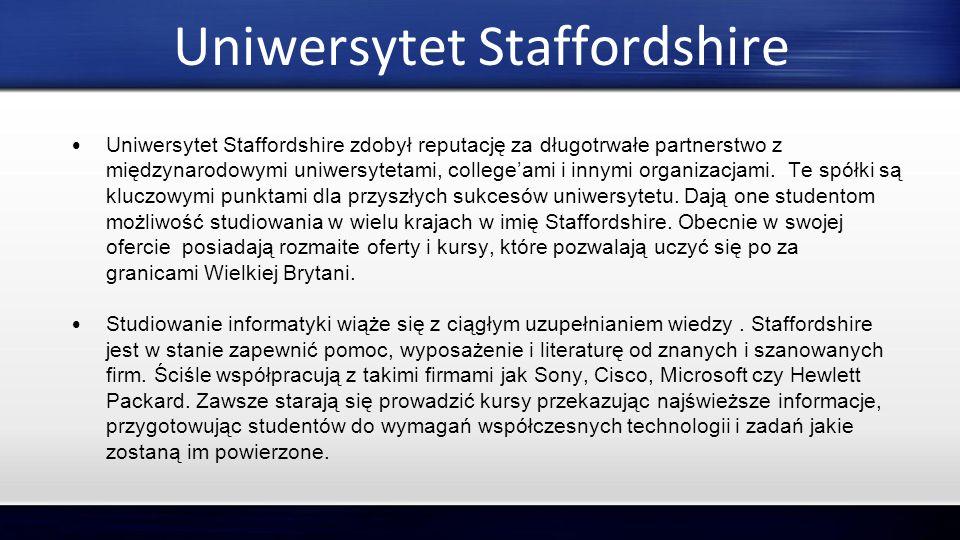 Uniwersytet Staffordshire Uniwersytet Staffordshire zdobył reputację za długotrwałe partnerstwo z międzynarodowymi uniwersytetami, college'ami i innym