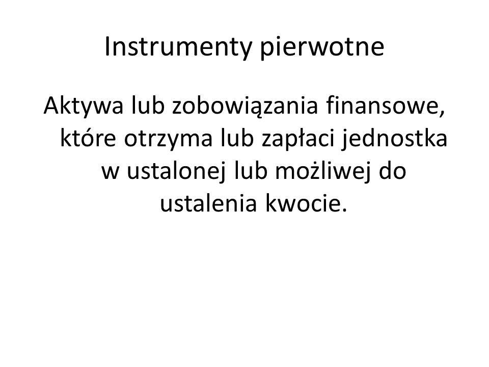 Instrumenty pierwotne Aktywa lub zobowiązania finansowe, które otrzyma lub zapłaci jednostka w ustalonej lub możliwej do ustalenia kwocie.