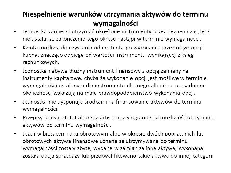 Niespełnienie warunków utrzymania aktywów do terminu wymagalności Jednostka zamierza utrzymać określone instrumenty przez pewien czas, lecz nie ustala