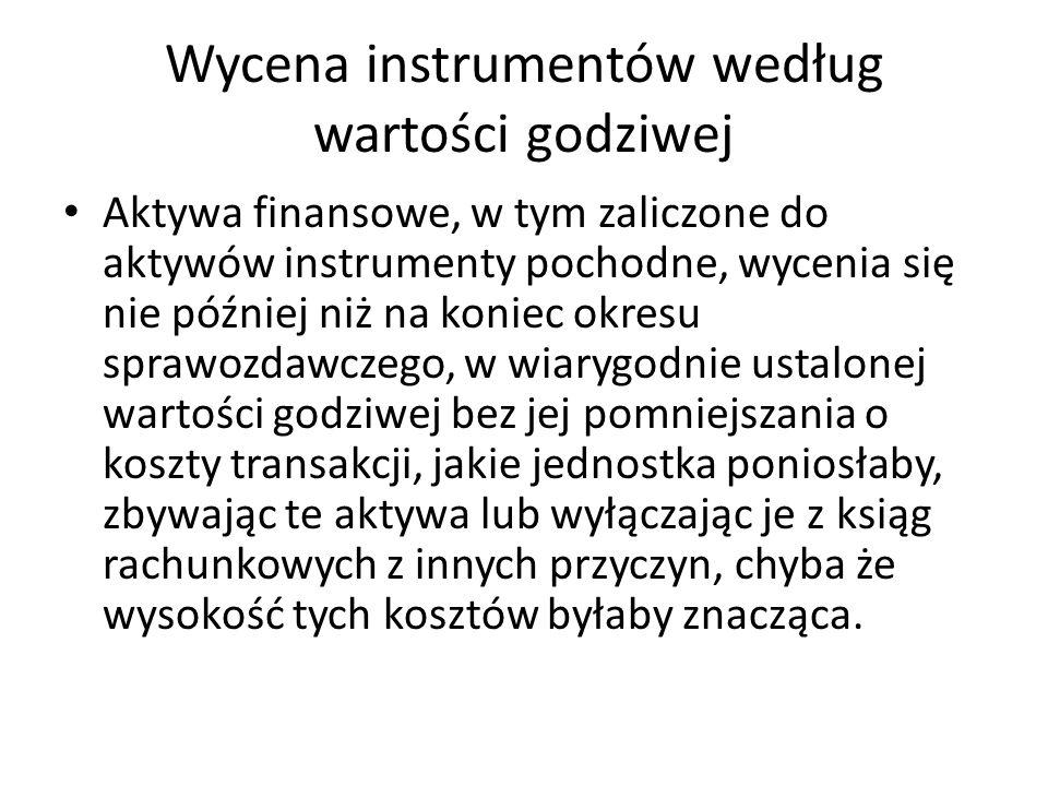 Wycena instrumentów według wartości godziwej Aktywa finansowe, w tym zaliczone do aktywów instrumenty pochodne, wycenia się nie później niż na koniec
