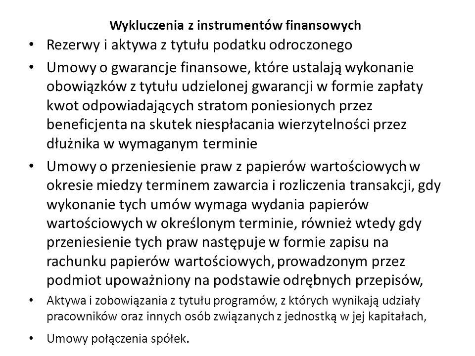 Wykluczenia z instrumentów finansowych Rezerwy i aktywa z tytułu podatku odroczonego Umowy o gwarancje finansowe, które ustalają wykonanie obowiązków