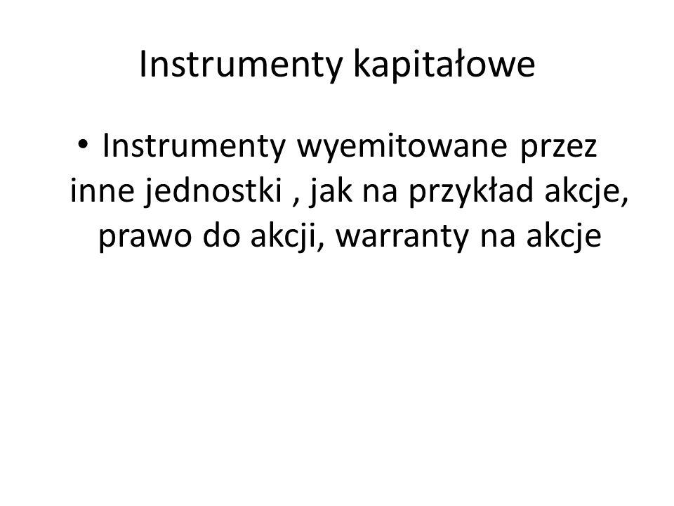 Instrumenty kapitałowe Instrumenty wyemitowane przez inne jednostki, jak na przykład akcje, prawo do akcji, warranty na akcje