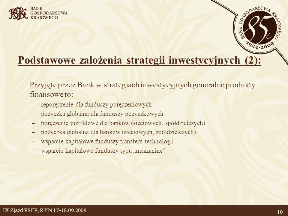 """10 IX Zjazd PSFP, RYN 17-18.09.2009 Podstawowe założenia strategii inwestycyjnych (2): Przyjęte przez Bank w strategiach inwestycyjnych generalne produkty finansowe to: –reporęczenie dla funduszy poręczeniowych –pożyczka globalna dla funduszy pożyczkowych –poręczenie portfelowe dla banków (sieciowych, spółdzielczych) –pożyczka globalna dla banków (sieciowych, spółdzielczych) –wsparcie kapitałowe funduszy transferu technologii –wsparcie kapitałowe funduszy typu """"mezzanine"""