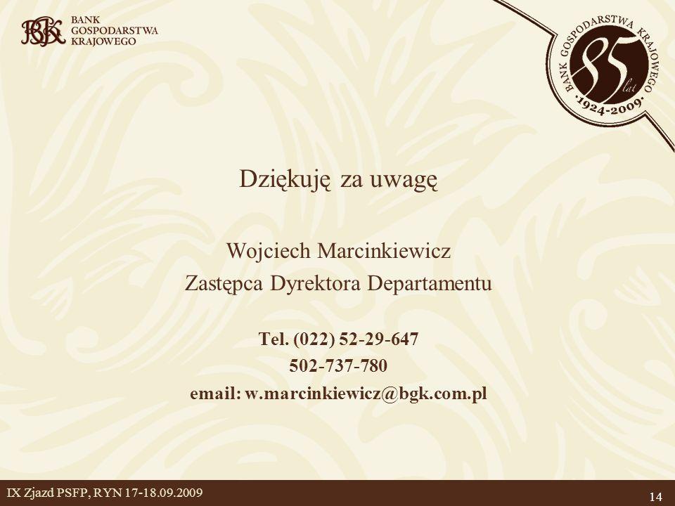 14 IX Zjazd PSFP, RYN 17-18.09.2009 Dziękuję za uwagę Wojciech Marcinkiewicz Zastępca Dyrektora Departamentu Tel.
