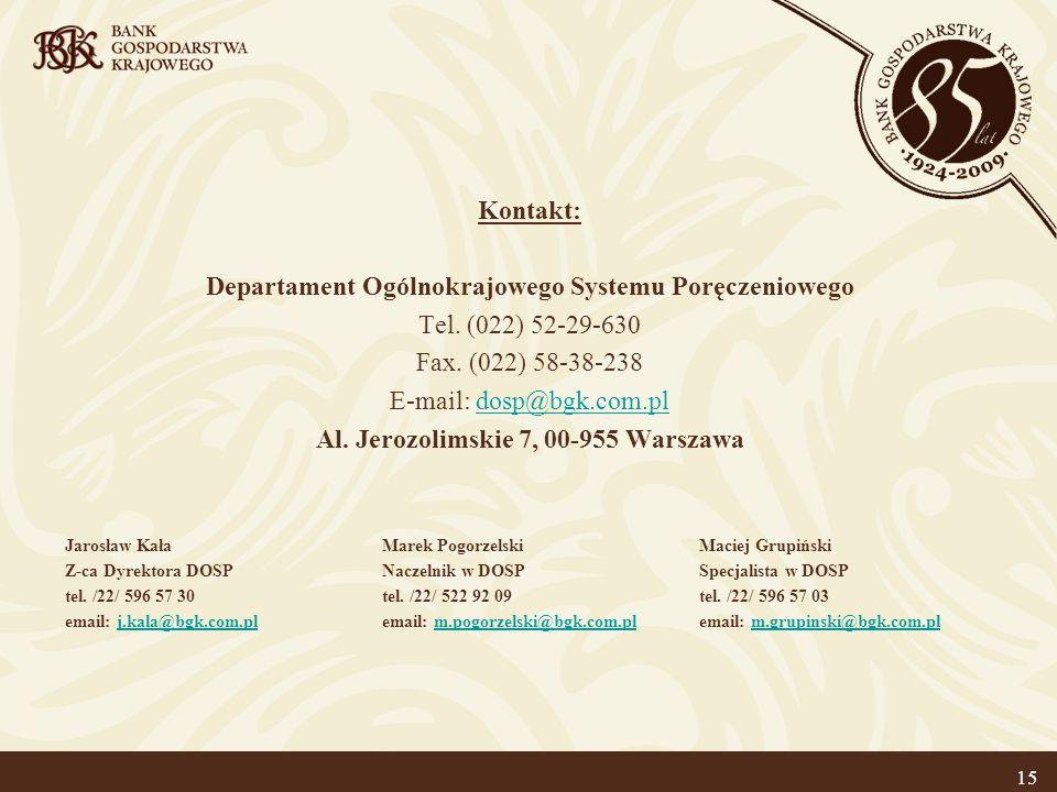15 Kontakt: Departament Ogólnokrajowego Systemu Poręczeniowego Tel.