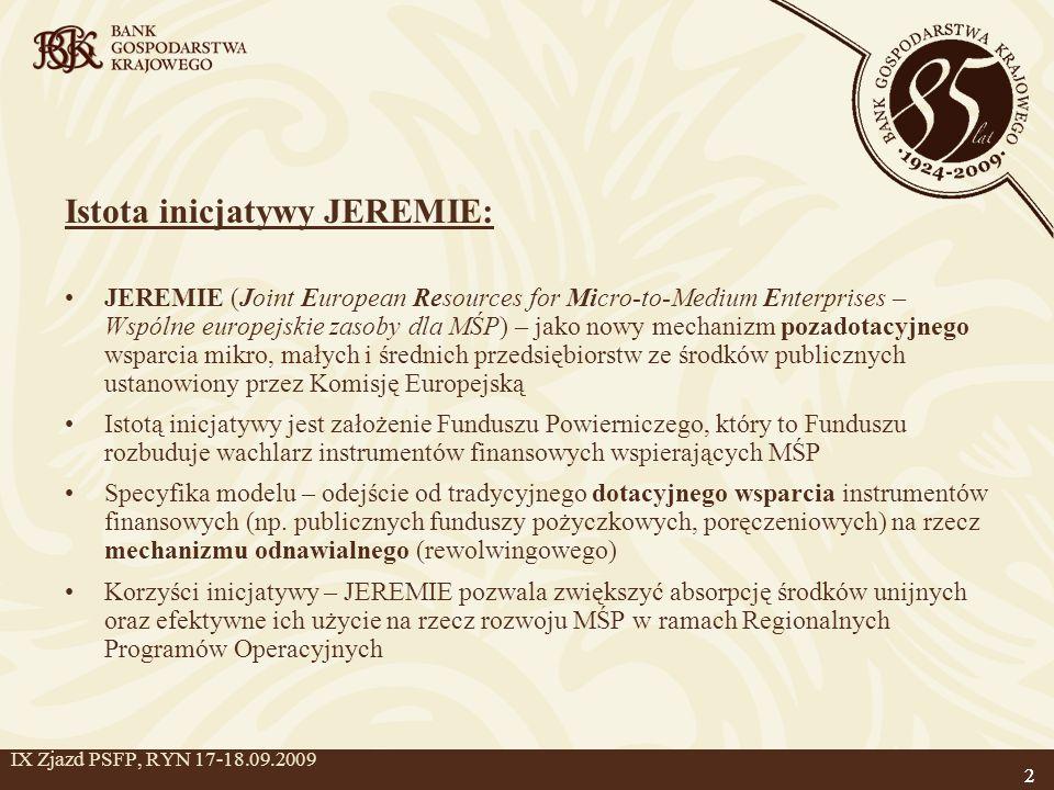 2 IX Zjazd PSFP, RYN 17-18.09.2009 Istota inicjatywy JEREMIE: JEREMIE (Joint European Resources for Micro-to-Medium Enterprises – Wspólne europejskie zasoby dla MŚP) – jako nowy mechanizm pozadotacyjnego wsparcia mikro, małych i średnich przedsiębiorstw ze środków publicznych ustanowiony przez Komisję Europejską Istotą inicjatywy jest założenie Funduszu Powierniczego, który to Funduszu rozbuduje wachlarz instrumentów finansowych wspierających MŚP Specyfika modelu – odejście od tradycyjnego dotacyjnego wsparcia instrumentów finansowych (np.