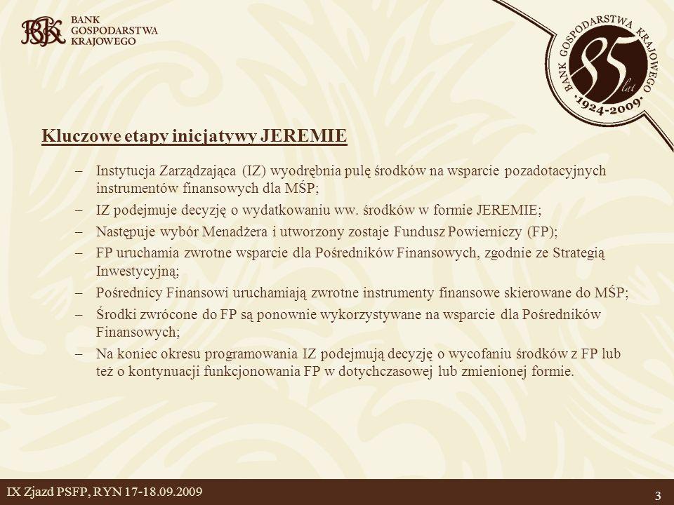 3 IX Zjazd PSFP, RYN 17-18.09.2009 Kluczowe etapy inicjatywy JEREMIE –Instytucja Zarządzająca (IZ) wyodrębnia pulę środków na wsparcie pozadotacyjnych instrumentów finansowych dla MŚP; –IZ podejmuje decyzję o wydatkowaniu ww.