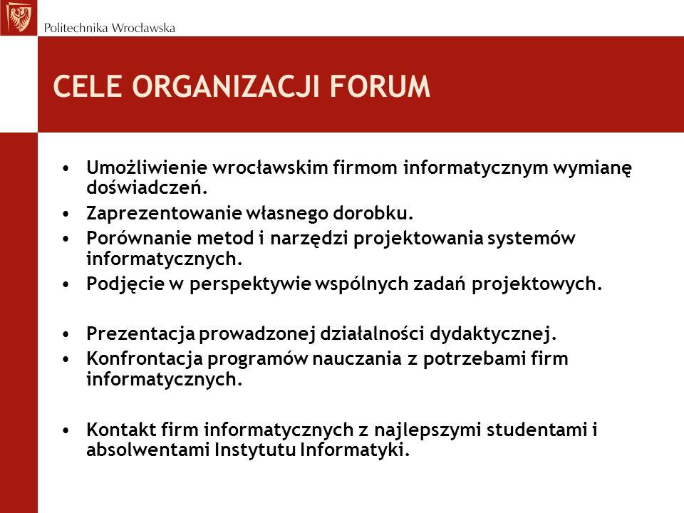 CELE ORGANIZACJI FORUM Umożliwienie wrocławskim firmom informatycznym wymianę doświadczeń. Zaprezentowanie własnego dorobku. Porównanie metod i narzęd