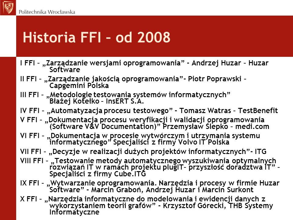 Dotychczasowi uczestnicy FFI Pracownicy PWr: Wydziału Informatyki i Zarządzania oraz Wydziału Elektroniki Pracownicy Uniwersytetu Wrocławskiego Advatech((integrator rozwiązań informatycznych) AION(firma doradcza) BI-Technologies (systemy finansowe) Capgemini Polska(konsulting i outsourcing) DROPTICA (aplikacje internetowe) Gisplan(systemy informacji przestrzennej) GrabSoft(oprogramowanie) Huzar Software(systemy celne) InsERT(oprogramowanie dla firm) ITG Innovation Technology Group/Cube.IT(sys.