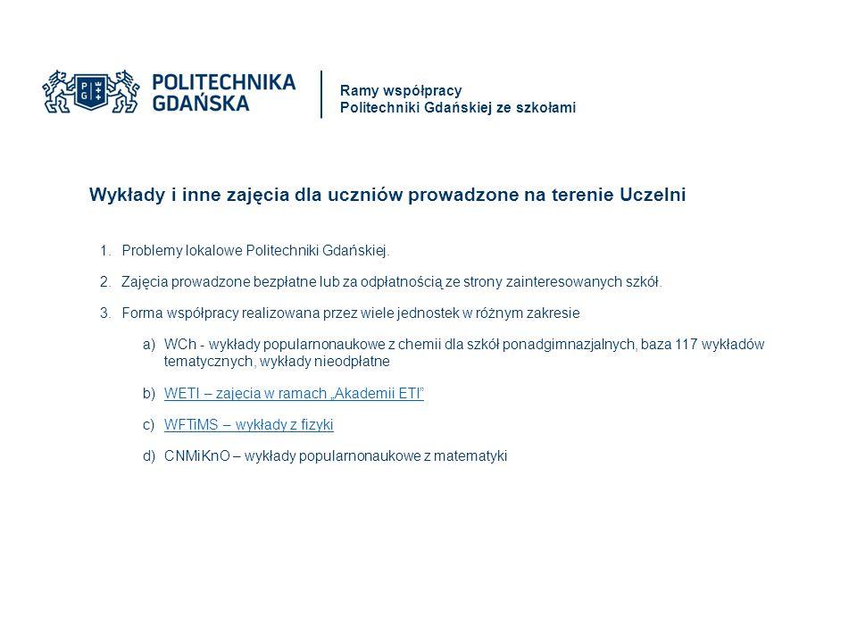 Wykłady i inne zajęcia dla uczniów prowadzone na terenie Uczelni 1.Problemy lokalowe Politechniki Gdańskiej.