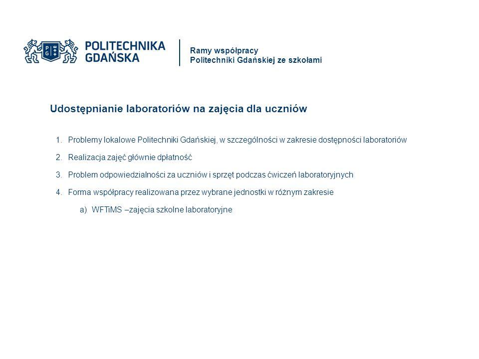 Udostępnianie laboratoriów na zajęcia dla uczniów 1.Problemy lokalowe Politechniki Gdańskiej, w szczególności w zakresie dostępności laboratoriów 2.Realizacja zajęć głównie dpłatność 3.Problem odpowiedzialności za uczniów i sprzęt podczas ćwiczeń laboratoryjnych 4.Forma współpracy realizowana przez wybrane jednostki w różnym zakresie a)WFTiMS –zajęcia szkolne laboratoryjne Ramy współpracy Politechniki Gdańskiej ze szkołami
