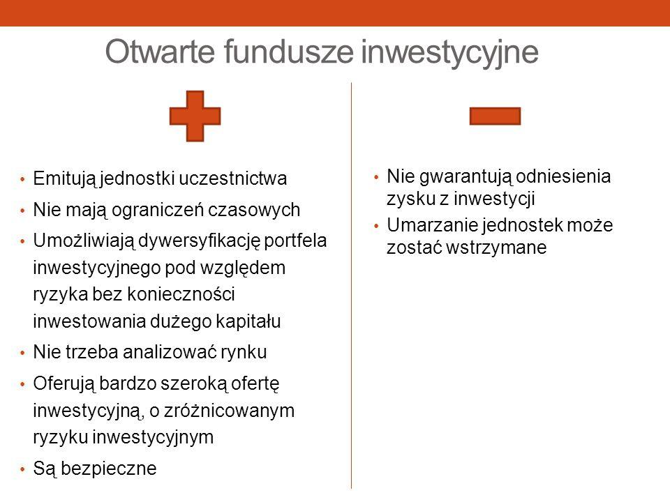 Otwarte fundusze inwestycyjne Emitują jednostki uczestnictwa Nie mają ograniczeń czasowych Umożliwiają dywersyfikację portfela inwestycyjnego pod wzgl