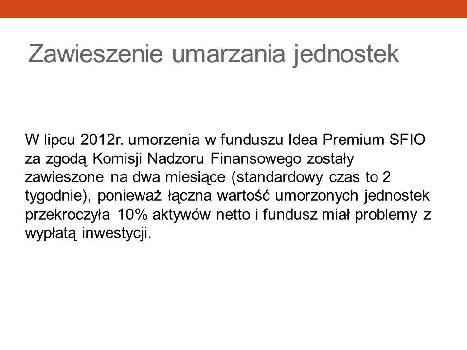 Zawieszenie umarzania jednostek W lipcu 2012r. umorzenia w funduszu Idea Premium SFIO za zgodą Komisji Nadzoru Finansowego zostały zawieszone na dwa m