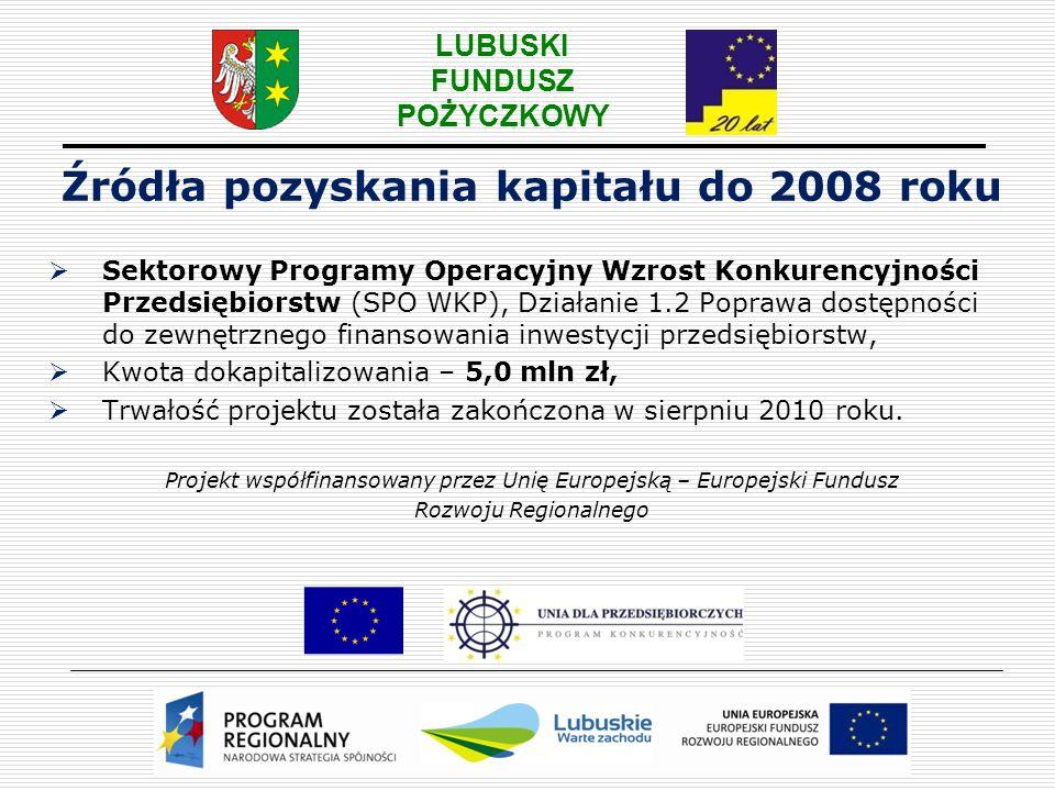 LUBUSKI FUNDUSZ POŻYCZKOWY Źródła pozyskania kapitału do 2008 roku  Sektorowy Programy Operacyjny Wzrost Konkurencyjności Przedsiębiorstw (SPO WKP),