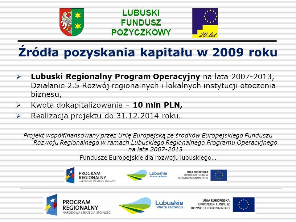 LUBUSKI FUNDUSZ POŻYCZKOWY Źródła pozyskania kapitału w 2009 roku  Umowa z Polską Agencją Rozwoju Przedsiębiorczości na uruchomienie funduszu pożyczkowego dla przedsiębiorców z powiatu nowosolskiego,  Kwota: 1,99 mln zł z PARP i 10 tys.