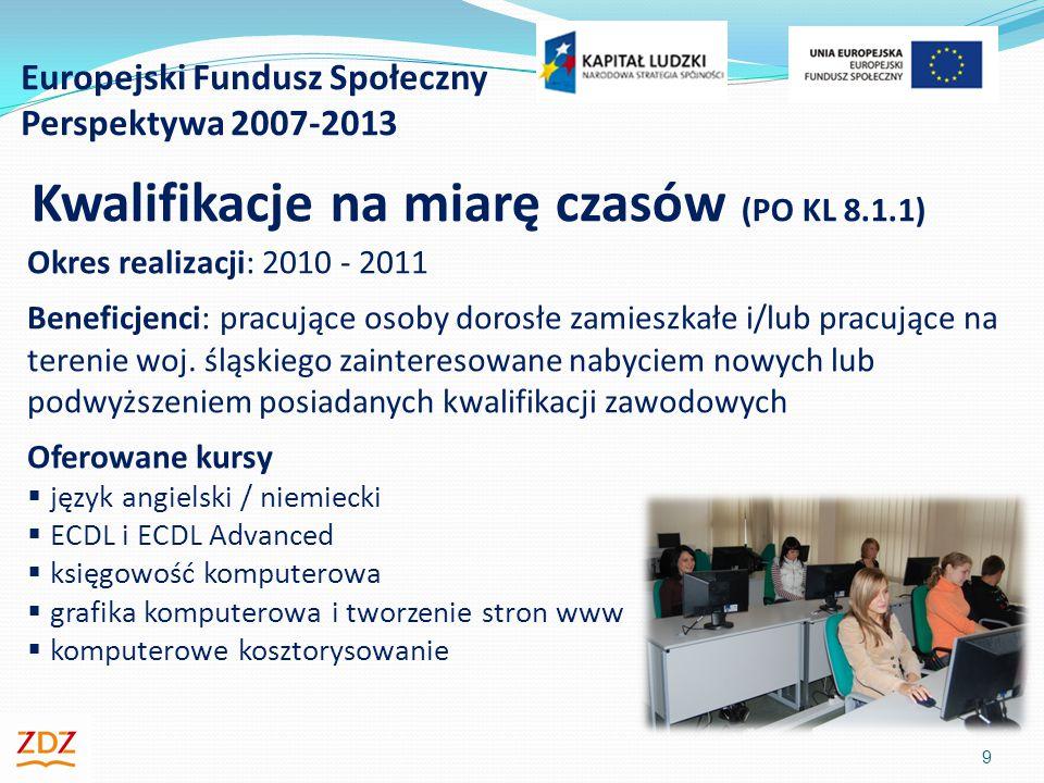 Europejski Fundusz Społeczny Perspektywa 2007-2013 10 Kwalifikacje na miarę czasów (PO KL 8.1.1) Rezultaty: Zrealizowanych kursów: 75 Liczba osób, które uzyskały certyfikat ECDL: 93 Liczba osób, które podniosły kompetencje językowe: 429