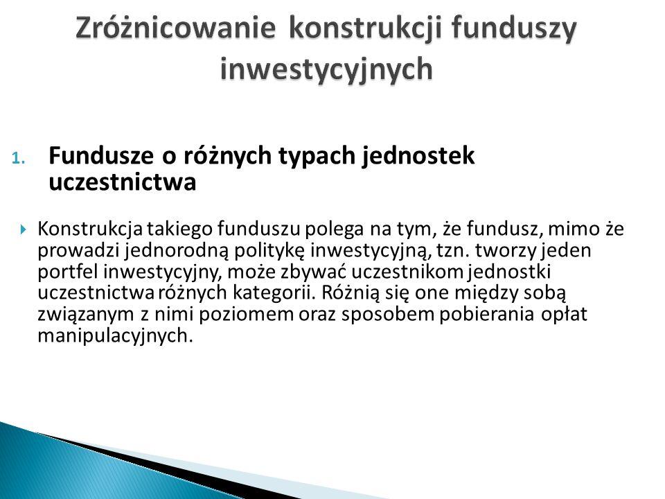 1. Fundusze o różnych typach jednostek uczestnictwa  Konstrukcja takiego funduszu polega na tym, że fundusz, mimo że prowadzi jednorodną politykę inw