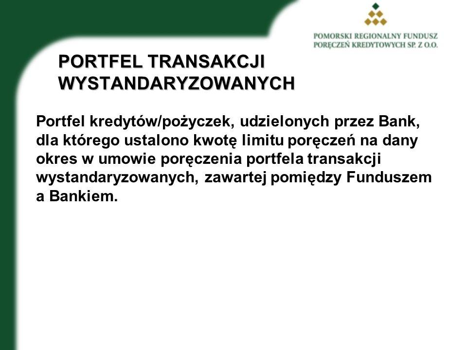 PORTFEL TRANSAKCJI WYSTANDARYZOWANYCH Portfel kredytów/pożyczek, udzielonych przez Bank, dla którego ustalono kwotę limitu poręczeń na dany okres w umowie poręczenia portfela transakcji wystandaryzowanych, zawartej pomiędzy Funduszem a Bankiem.